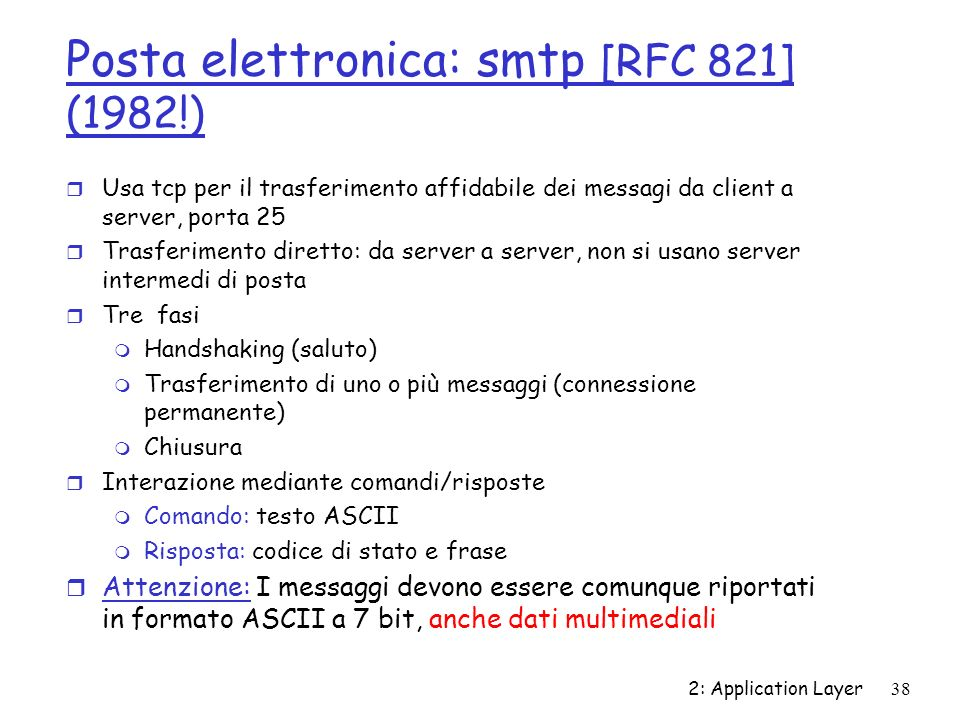 Posta elettronica: smtp [RFC 821] (1982!)